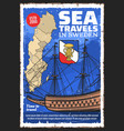 swedish map and sailing ship sweden travel vector image