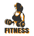 training woman with dumbbells fitness emblem vector image vector image