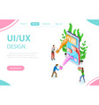 ui and ux design process isometric flat vector image vector image