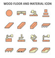wood floor construction and material icon set vector image