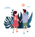 young loving couple goes holding hands on their vector image vector image