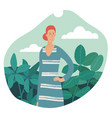 young woman standing in nature surrounding vector image vector image
