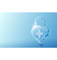3d unlocked heart shape with healthcare concept vector image vector image