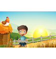 A boy in the farm holding an empty egg tray vector image vector image