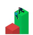 a businessman helps a man scramble to a diagram vector image vector image