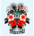 aloha hawaii pink hibiscus and black leaves mirror vector image vector image