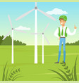 alternative energy with man and vector image vector image