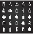 bottle icons set on black background for graphic vector image