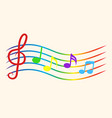color music notes on staves vector image