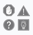 common gray attention and guide signs icons set vector image