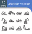 construction vechicle line icon vector image