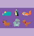 cute animals set rhino penguin fox deer hippo vector image vector image