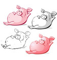 cute ping pig cartoon isolated vector image vector image