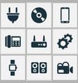 device icons set with video camera amplifier vector image
