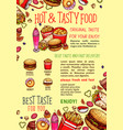 fastfood poster for fast food restaurant vector image vector image