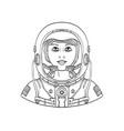 female astronaut wearing a space helmet