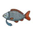 fish in necktie color sketch engraving vector image vector image