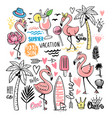 flamingo doodle with tropical elements vector image vector image