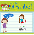 Flashcard letter S is for sisters vector image vector image