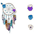 hand drawn ornate dreamcatcher with blue flowers vector image vector image