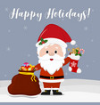 happy new year and merry christmas cute santa vector image