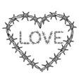 heart symbol barb wire sketch engraving vector image vector image