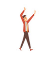 man in office clothes joyfully goes and waves vector image vector image