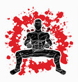 man kung fu action ready to fight graphic vector image vector image