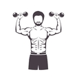 muscular man lifting a dumbbell vector image vector image