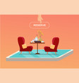 online reserved table in cafe concept reserved in vector image