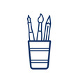 paintbrush pencil in a glass icon on white vector image