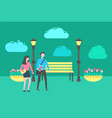 people walking in park benches lanterns outdoors vector image
