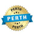 Perth round golden badge with blue ribbon vector image vector image