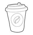 plastic cup of coffee icon outline style vector image vector image