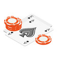 playing cards and poker chips casino vector image vector image