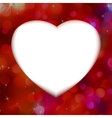 Red bokeh with white heart as background EPS 8 vector image vector image