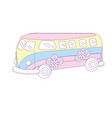 retro hippie bus transportation with flowers vector image vector image