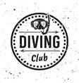 scuba diving club monochrome round emblem vector image vector image