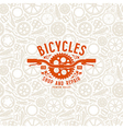 Seamless pattern and bike shop label vector image