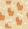seamless pattern cute dog vector image vector image