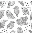 seamless pattern with ink hand drawn exotic birds vector image vector image