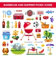 set flat design barbecue and summer picnic vector image
