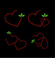 Set of logos with red hearts and green leaves vector image vector image