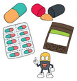 set of medicine capsule vector image