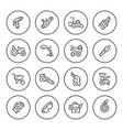 set round line icons of garden equipment vector image vector image