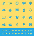 Smart phone screen color icons on yellow vector image