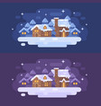 snowy winter village landscape flat christmas vector image