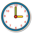 sticker clock on white background vector image