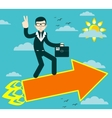 Successful businessman with victory sign flying on vector image