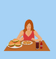 women are eating fast food on brown wooden table vector image
